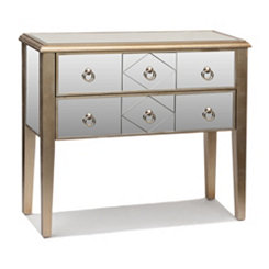 Champagne Mirrored Drawer Console Table