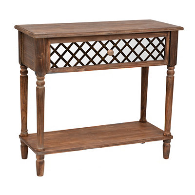 Kirklands rustic mirrored lattice console table customer for Sofa table kirklands