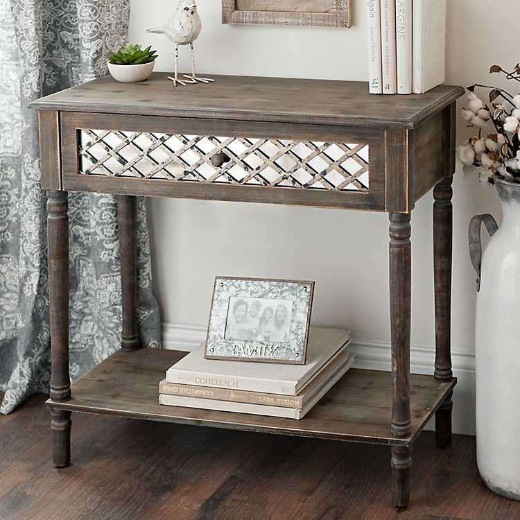 Rustic mirrored lattice console table kirklands for Sofa table kirklands