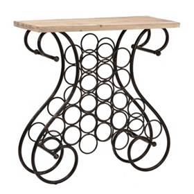 Wrought Iron Console Table with Wine Rack