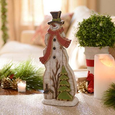 Snowman Nature Scene Statue