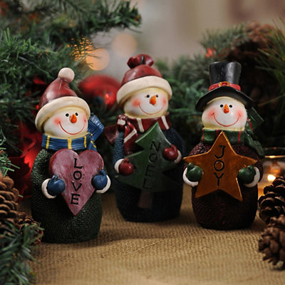 Sentimental Snowmen Statues, Set of 3