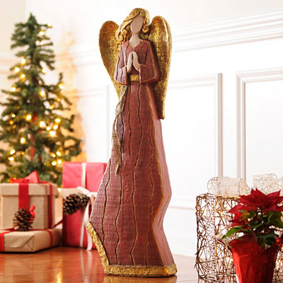 Distressed Red & Gold Angel Statue