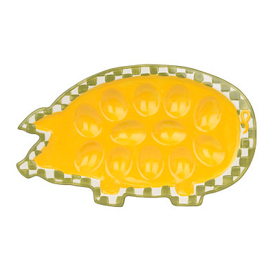 Yellow Pig Egg Plate