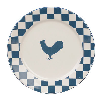 Checkered Blue Rooster Plate