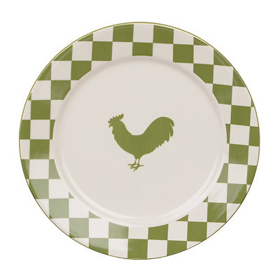 Checkered Green Rooster Plate