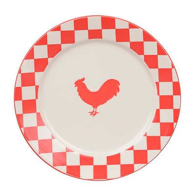 Checkered Red Rooster Plate