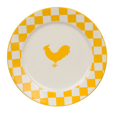 Checkered Yellow Rooster Plate