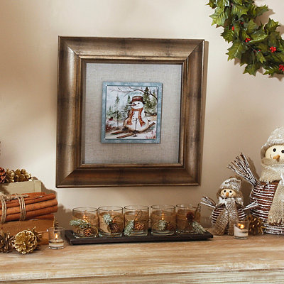 Country Snowman Framed Art Print