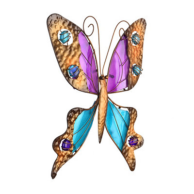 Turquoise & Purple Glass Butterfly Plaque
