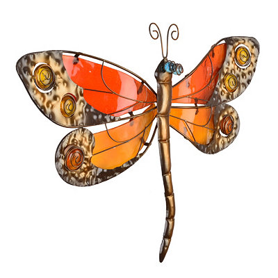 Orange & Red Glass Dragonfly Plaque
