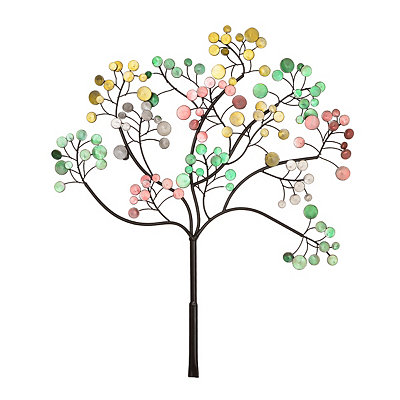Multicolor Round Leaves Tree Metal Plaque