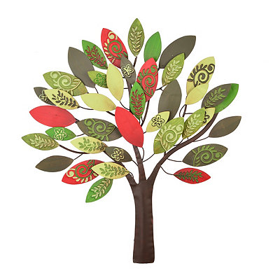 Embossed Green & Red Leaves Tree Metal Plaque