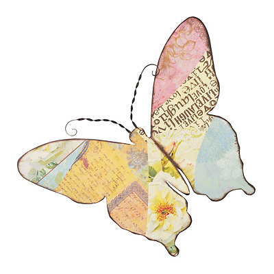 Collage Butterfly Metal Plaque