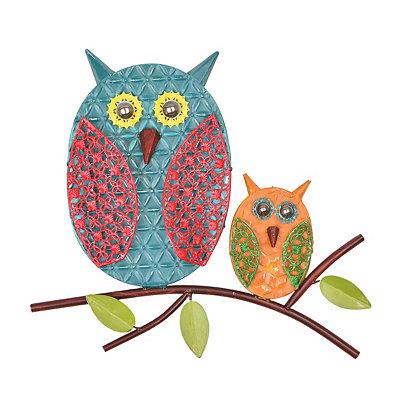 Embossed Owls Metal Plaque