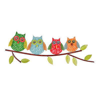 Owls on a Tree Branch Wall Plaque