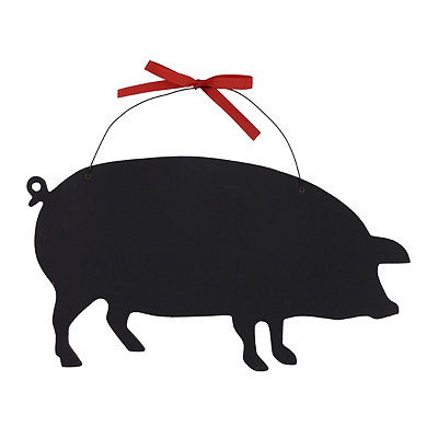 Pig Chalkboard with Red Ribbon