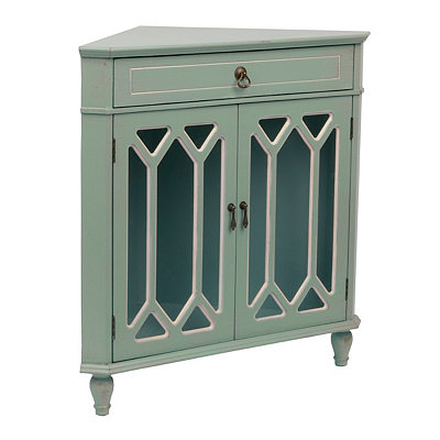 Turquoise Cathedral Corner Cabinet