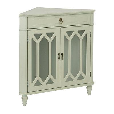 Gray Cathedral Door Corner Cabinet