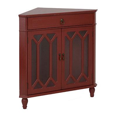 Red Cathedral Door Corner Cabinet