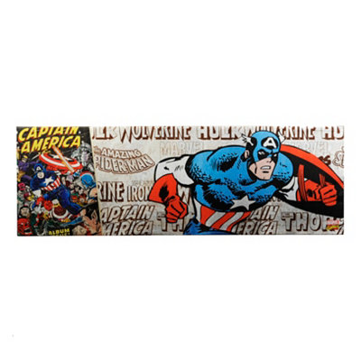 Captain America Metallic Canvas Art Print