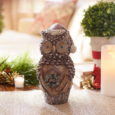 Carved Pine Cone Owl Statue