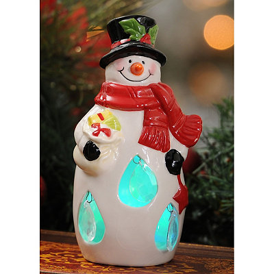 Jeweled LED Snowman Statue