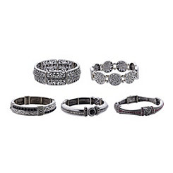 Embellished Silver Stretch Bracelets
