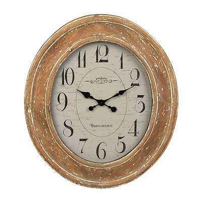 Distressed Natural Oval Clock