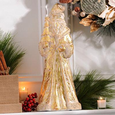 Metallic Gold Santa Statue