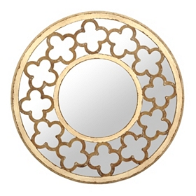 Distressed Cream Quatrefoil Mirror, 30 in.