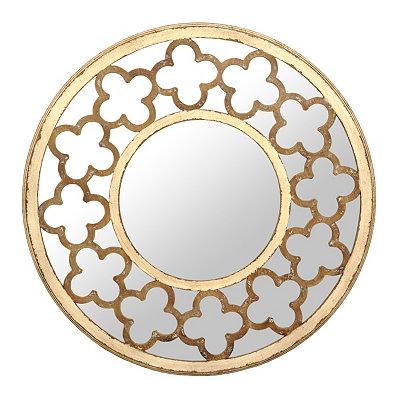 Distressed Cream Quatrefoil Mirror, 30 in.