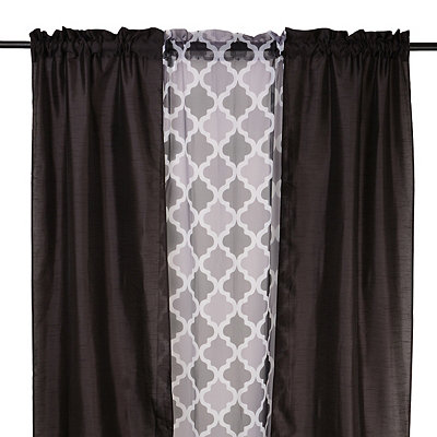 Black Asher 3-pc. Curtain Panel Set, 84 in.