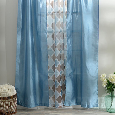 Blue Asher 3 Pc Curtain Panel Set 84 In