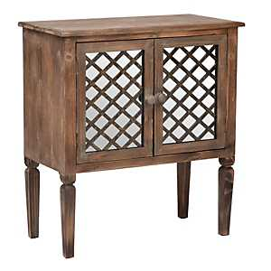 Rustic Mirrored Lattice Cabinet