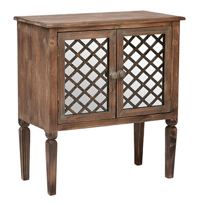 Rustic Mirrored Lattice Cabinet