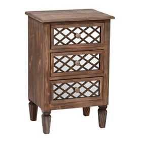 Rustic Mirrored Lattice 3-Drawer Chest