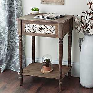 Rustic Mirrored Lattice Accent Table