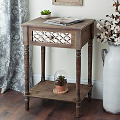 Rustic Mirrored Lattice Accent Table