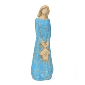 Blue Angel & Birdhouse Typography Statue