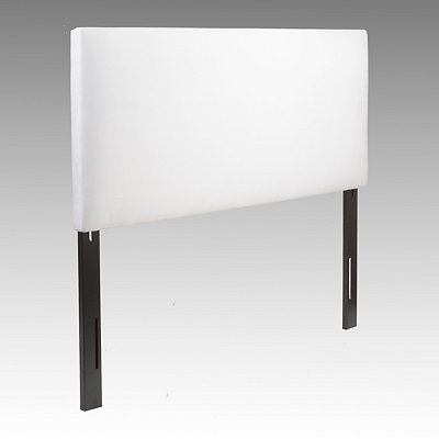 White Microsuede Queen Headboard