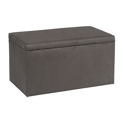 Charcoal Microsuede Storage Bench