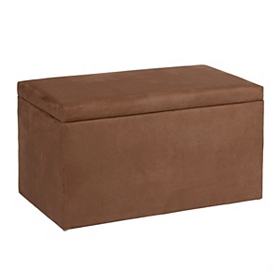 Chocolate Brown Microsuede Storage Bench