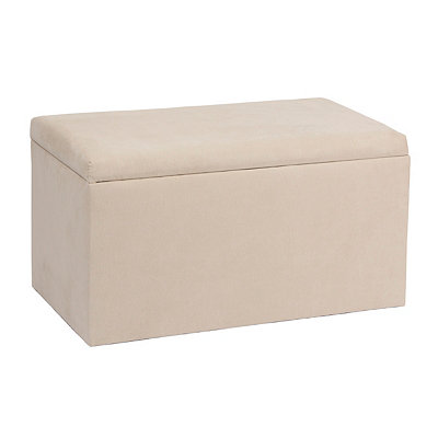 Oatmeal Microsuede Storage Bench
