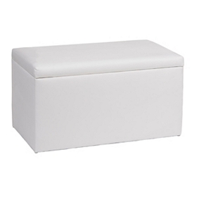 White Microsuede Storage Bench
