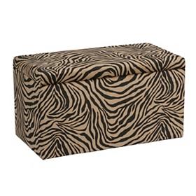 Zebra Print Velvet Storage Bench