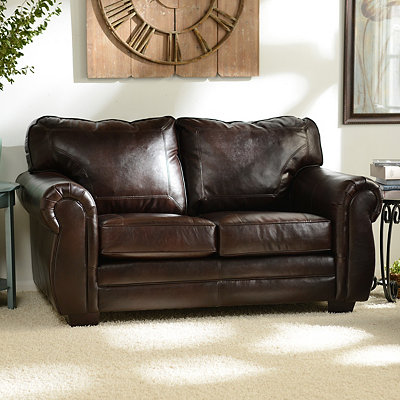 Panama Espresso Bonded Leather Loveseat
