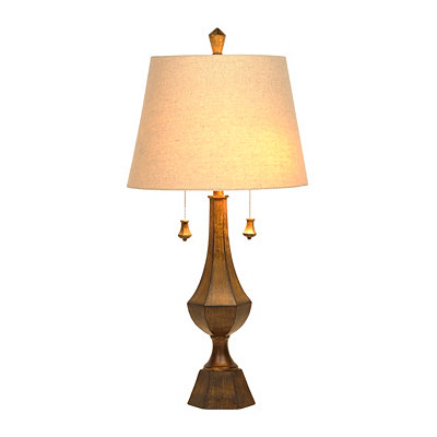 Double Pull-Chain Bronze Table Lamp