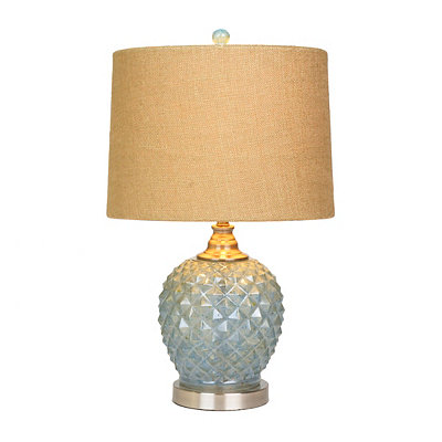 Diamond Cut Turquoise Glass Table Lamp