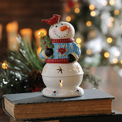 Sweater Snowman Candle Holder